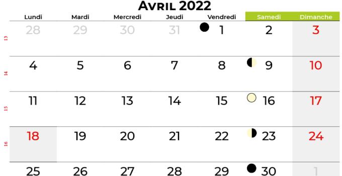 calendrier avril 2022 belgique