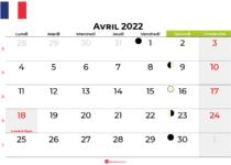 calendrier avril 2022 france