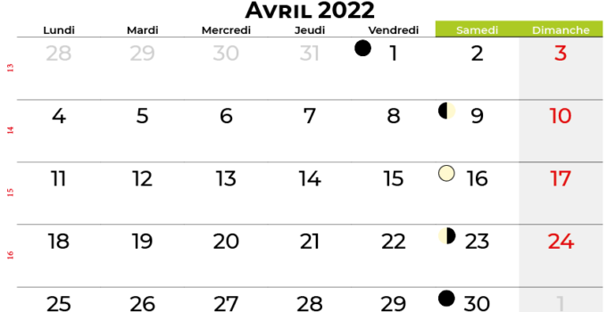 calendrier avril 2022 suisse
