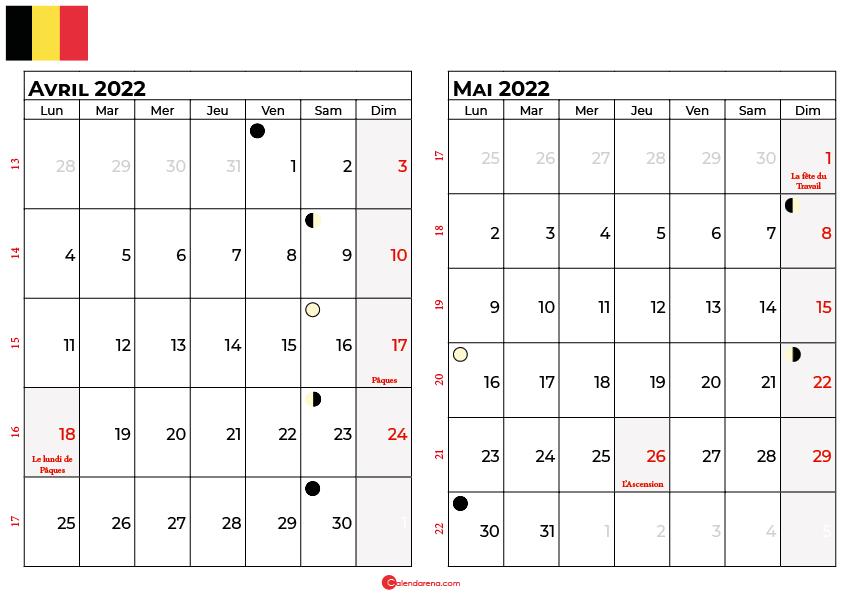calendrier avril et mai 2022 belgique