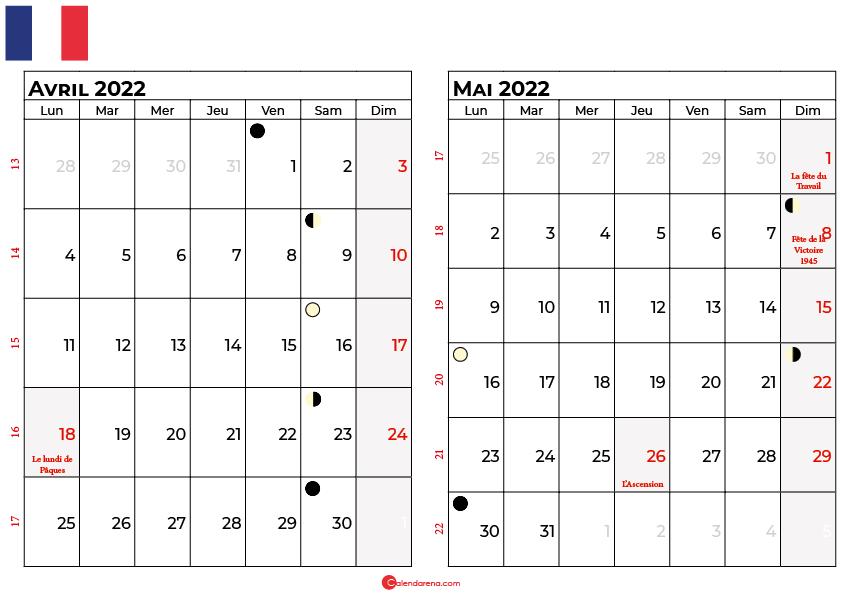 calendrier avril et mai 2022 france