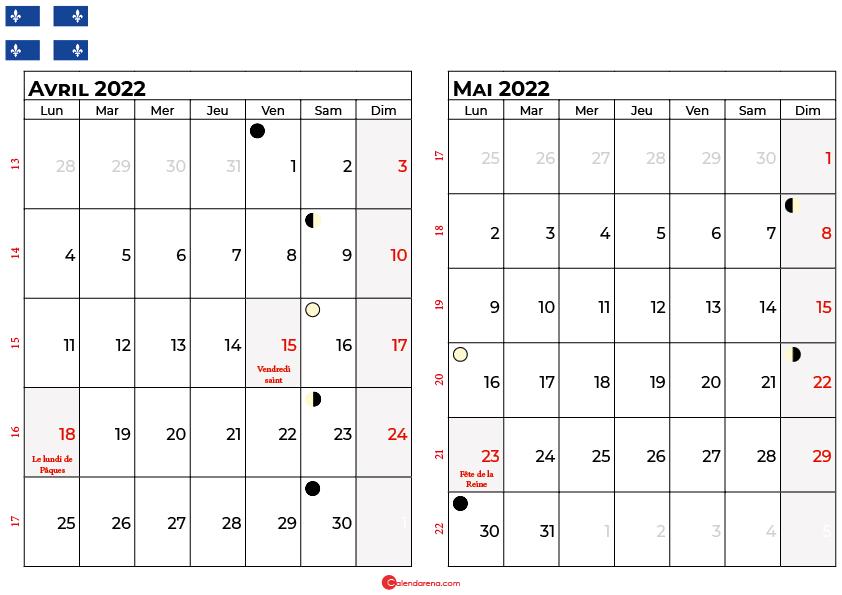 calendrier avril et mai 2022 québec canada
