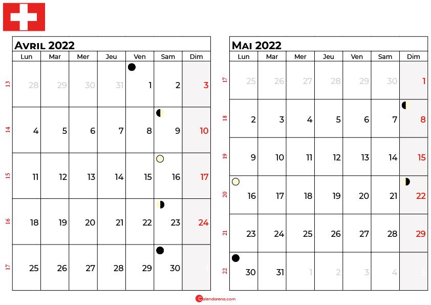 calendrier avril et mai 2022 suisse