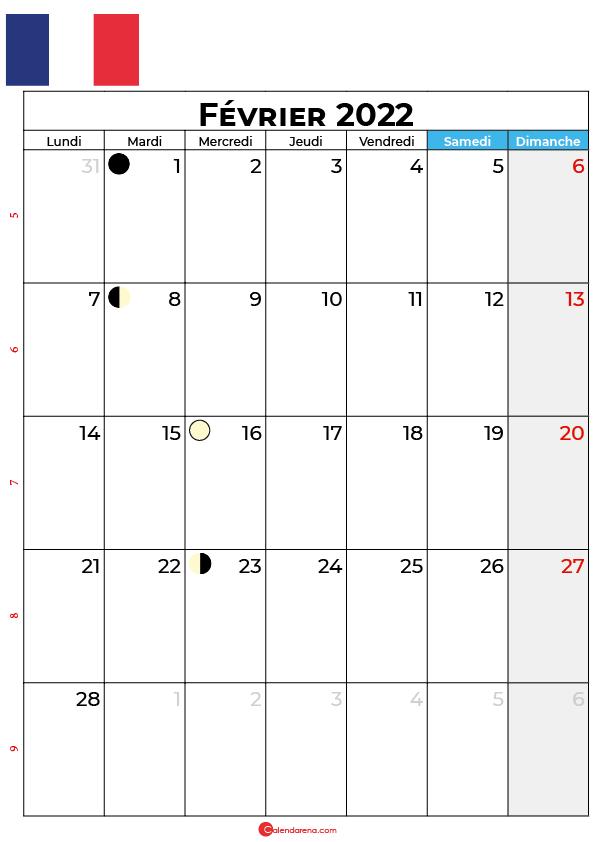 calendrier février 2022 à imprimer france