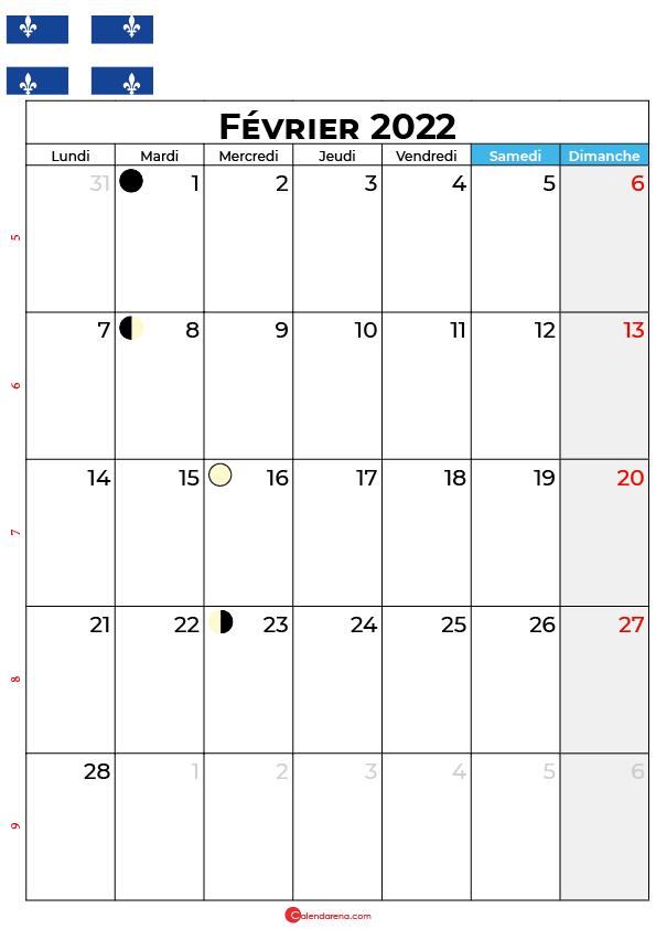 calendrier février 2022 à imprimer québec canada