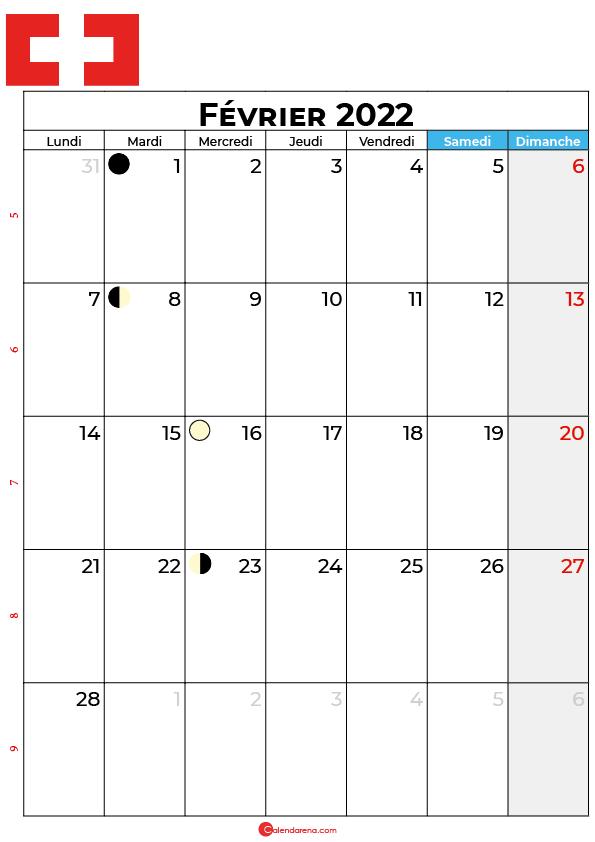 calendrier février 2022 à imprimer suisse