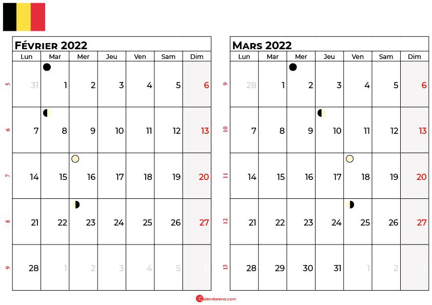 calendrier février et mars 2022 belgique