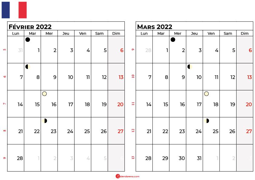 calendrier février et mars 2022 france
