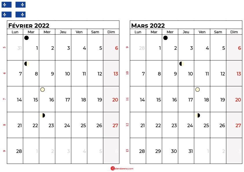 calendrier février et mars 2022 québec canada