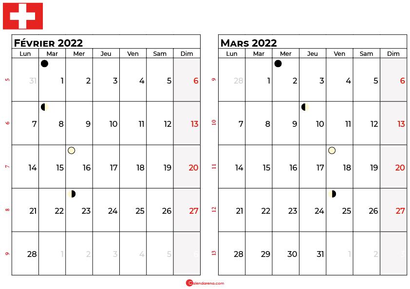 calendrier février et mars 2022 suisse