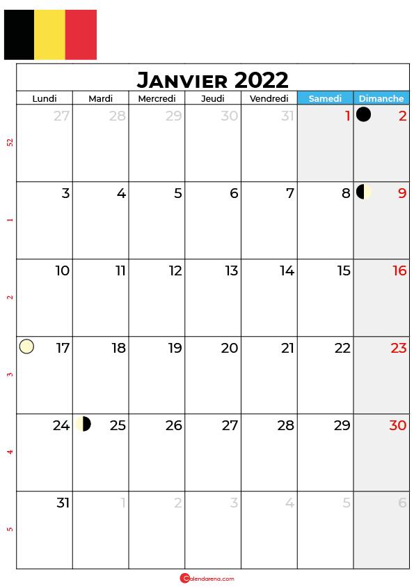 calendrier janvier 2022 à imprimer belgique