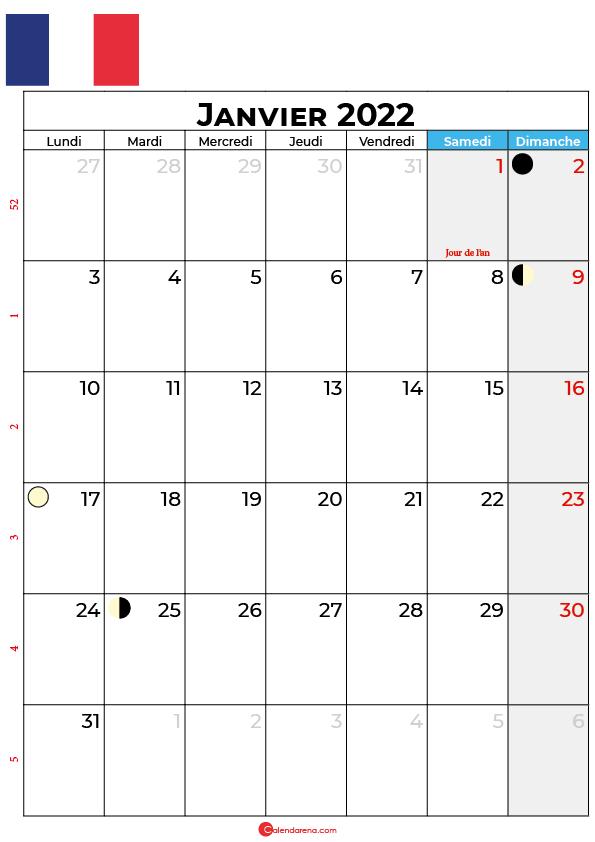 calendrier janvier 2022 à imprimer france