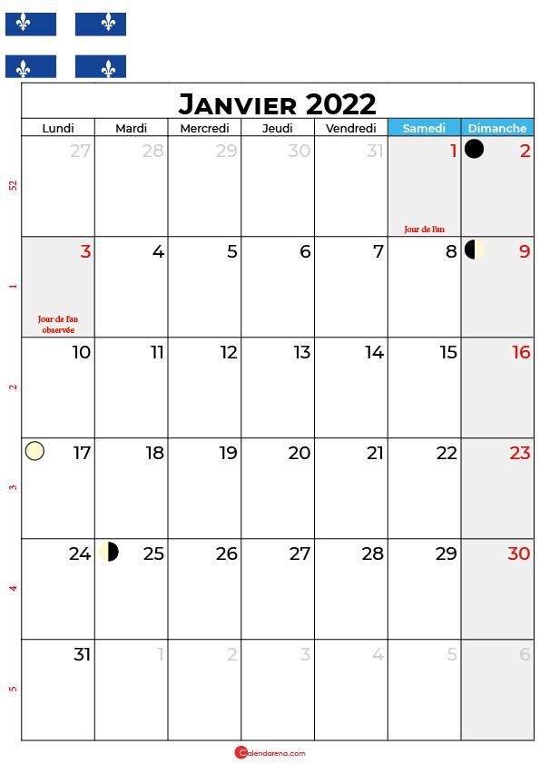 calendrier janvier 2022 à imprimer québec canada