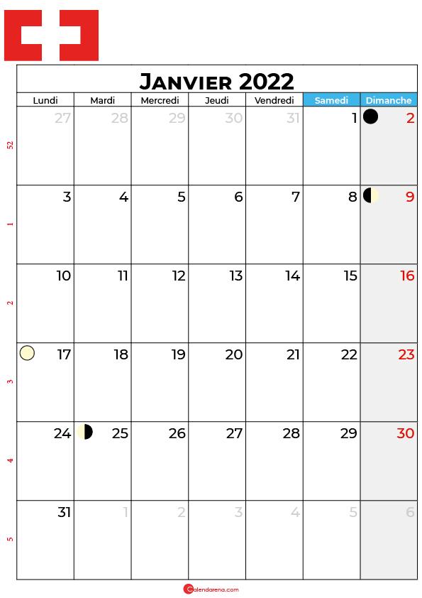 calendrier janvier 2022 à imprimer suisse