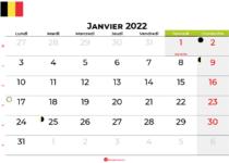 calendrier janvier 2022 belgique