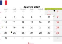 calendrier janvier 2022 france