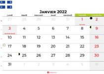calendrier janvier 2022 québec canada