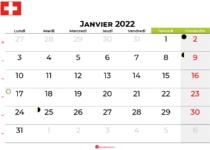 calendrier janvier 2022 suisse