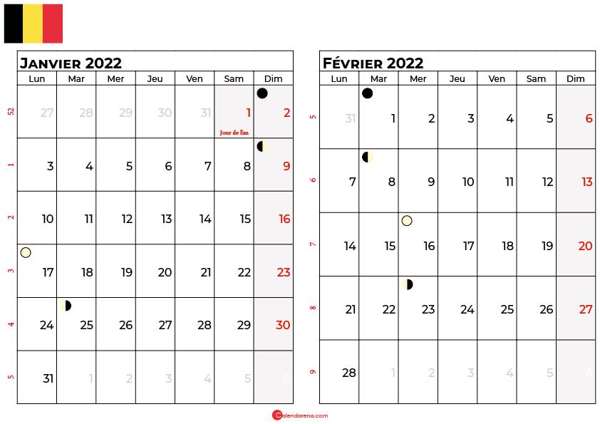 calendrier janvier et février 2022 belgique