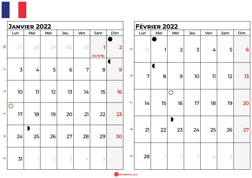 calendrier janvier et février 2022 france