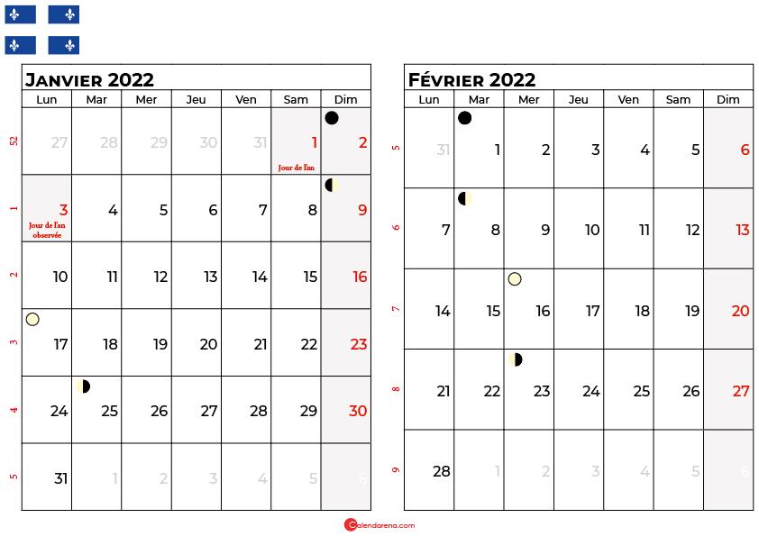 calendrier janvier et février 2022 québec canada