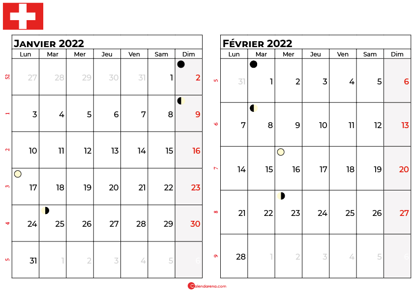 calendrier janvier et février 2022 suisse