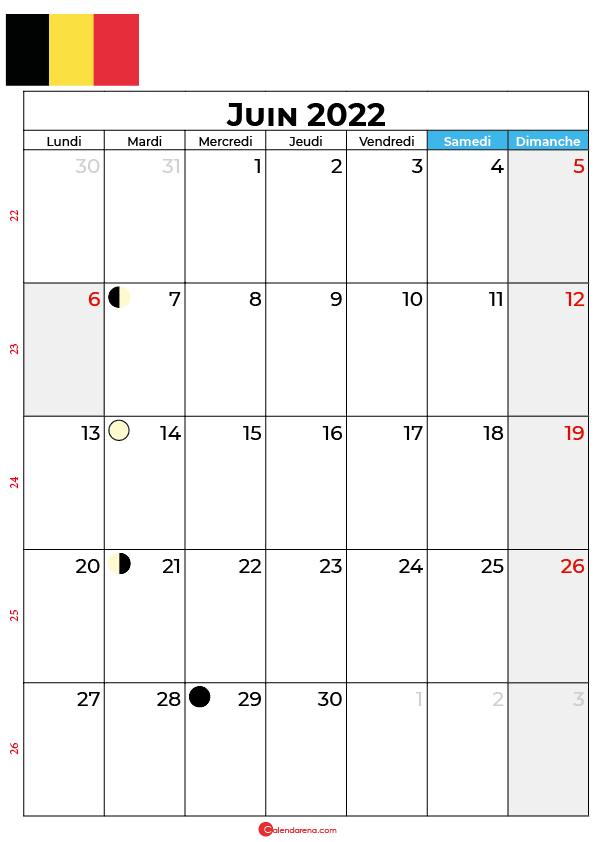 calendrier juin 2022 à imprimer belgique