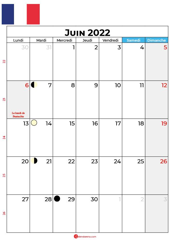 calendrier juin 2022 à imprimer france
