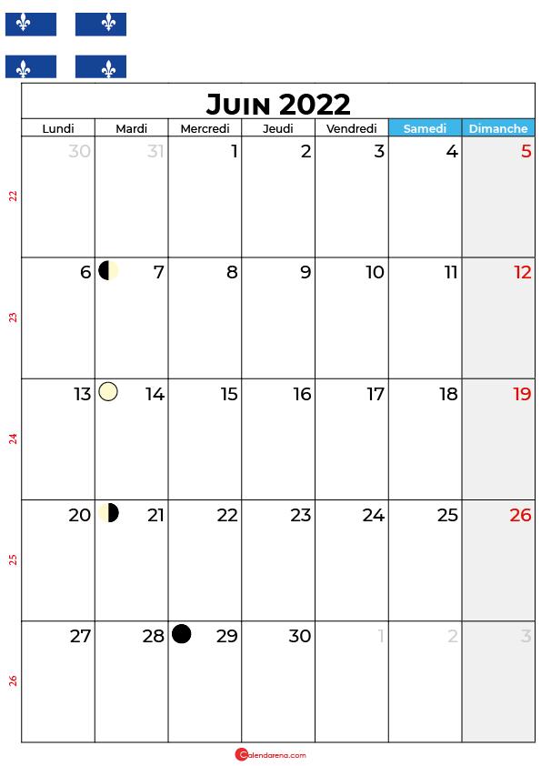 calendrier juin 2022 à imprimer québec canada