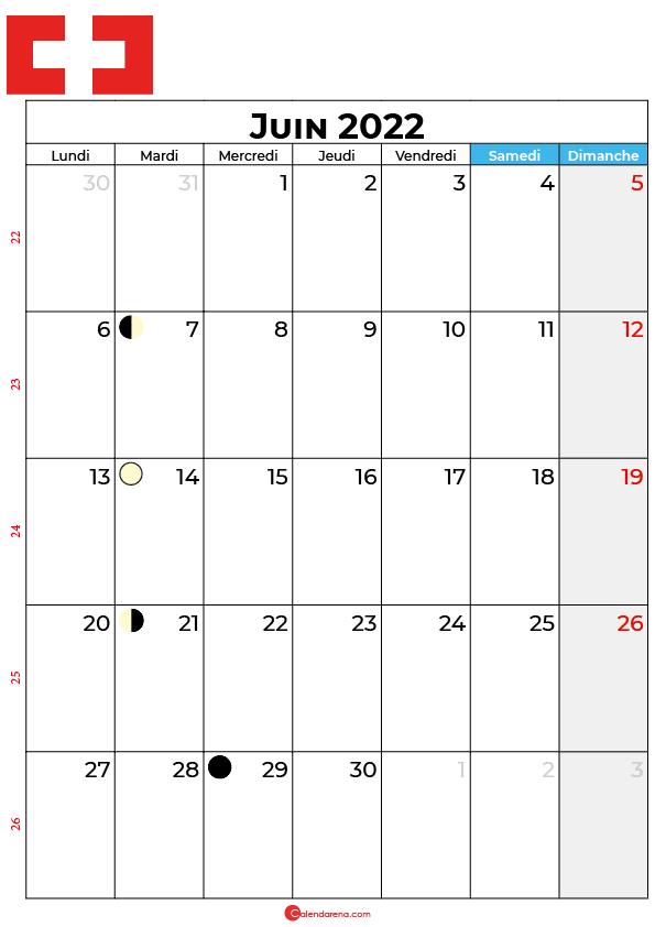 calendrier juin 2022 à imprimer suisse