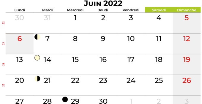 calendrier juin 2022 belgique