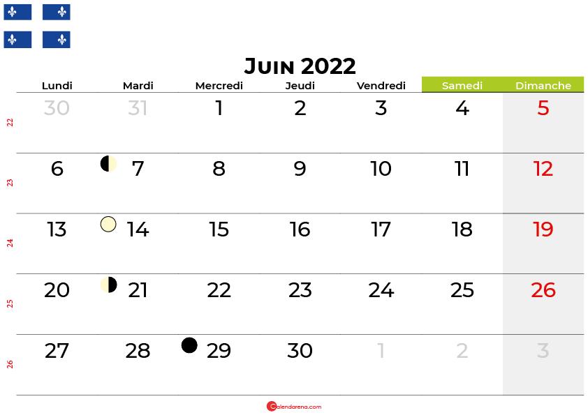 calendrier juin 2022 québec canada
