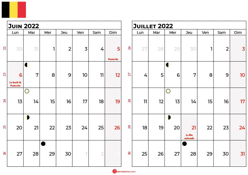 calendrier juin et juillet 2022 belgique