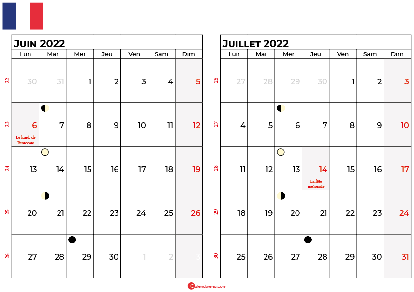calendrier juin et juillet 2022 france