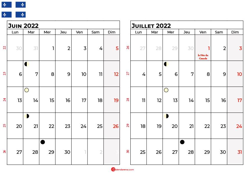 calendrier juin et juillet 2022 québec canada