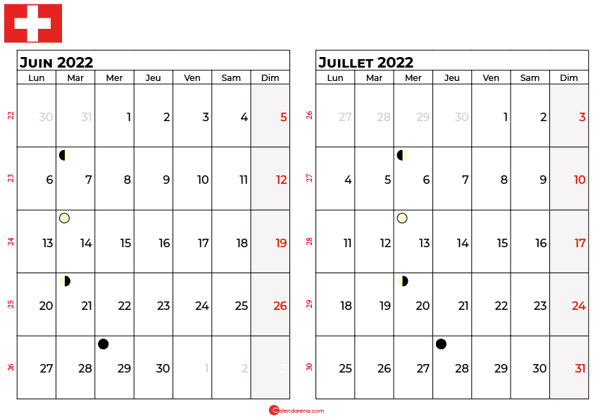 calendrier juin et juillet 2022 suisse