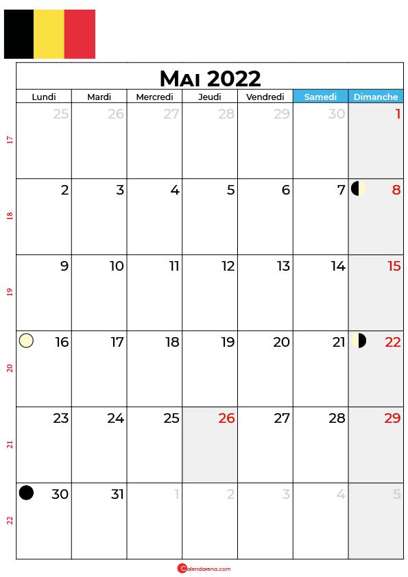 calendrier mai 2022 à imprimer belgique