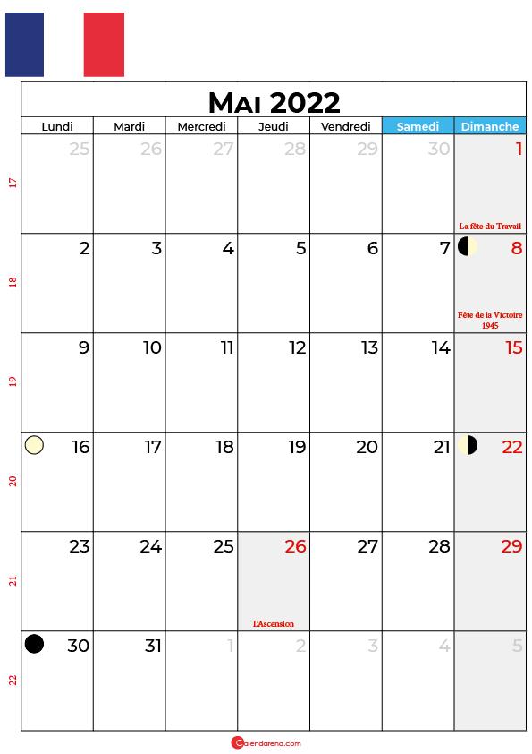 calendrier mai 2022 à imprimer france