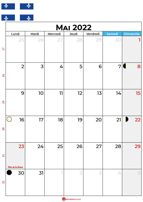 calendrier mai 2022 à imprimer québec canada