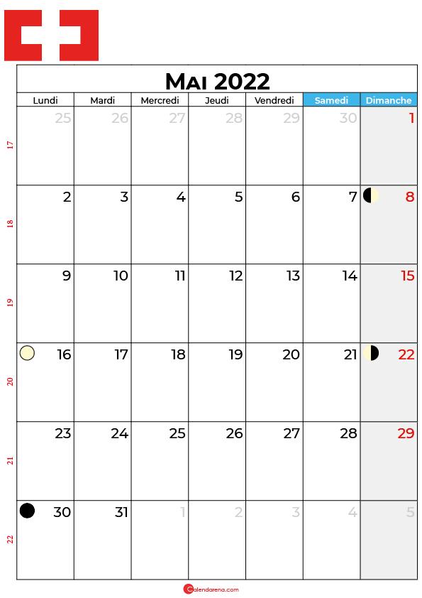 calendrier mai 2022 à imprimer suisse