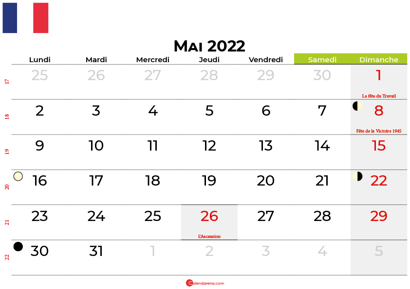 calendrier mai 2022 france