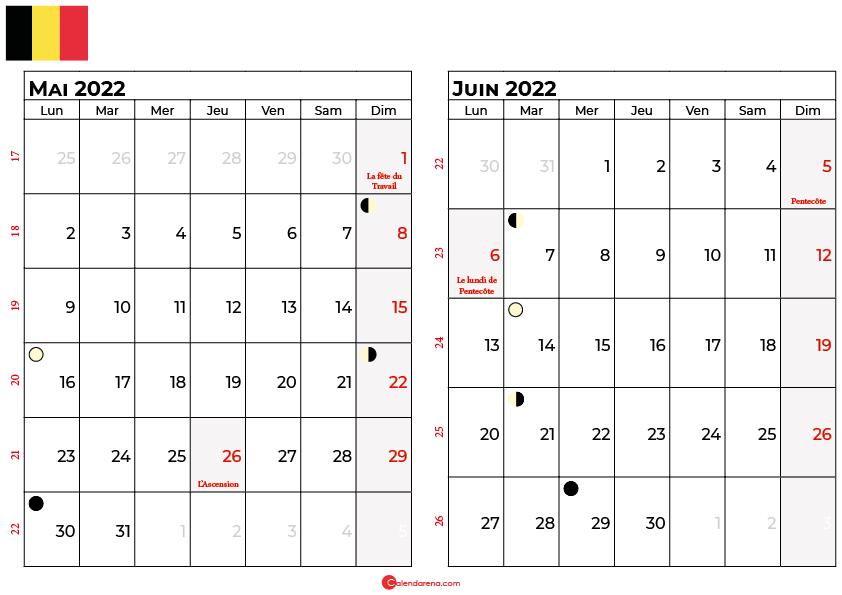 calendrier mai et juin 2022 belgique