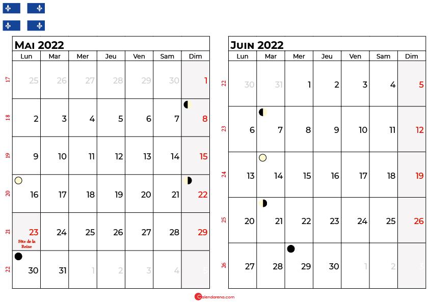 calendrier mai et juin 2022 québec canada
