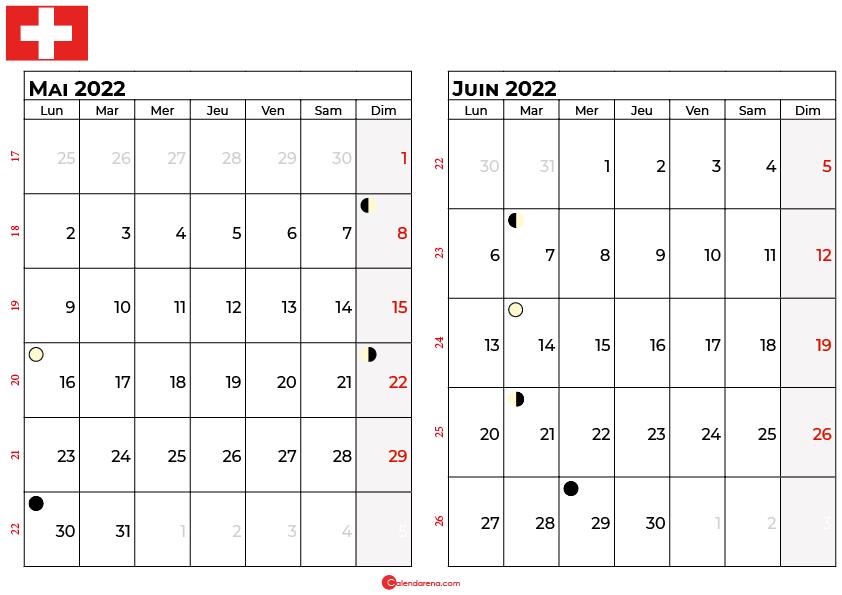 calendrier mai et juin 2022 suisse