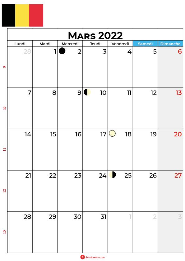 calendrier mars 2022 à imprimer belgique
