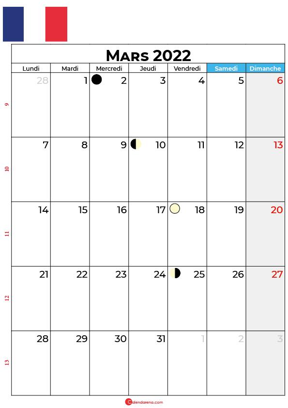 calendrier mars 2022 à imprimer france