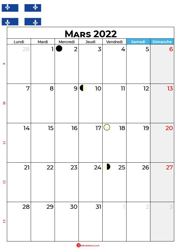 calendrier mars 2022 à imprimer québec canada