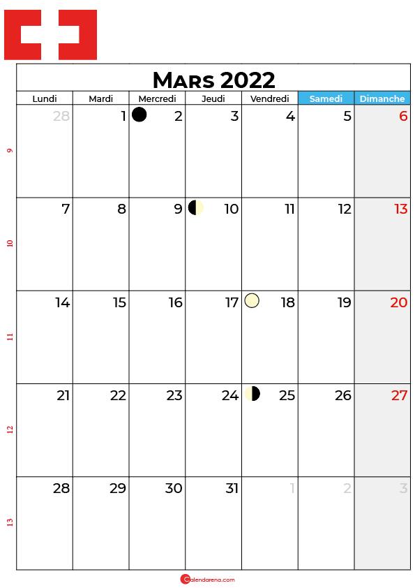 calendrier mars 2022 à imprimer suisse