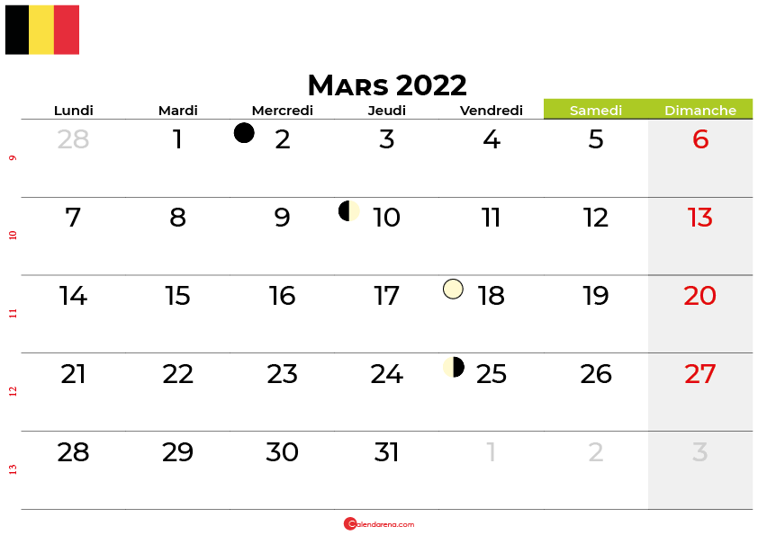 calendrier mars 2022 belgique