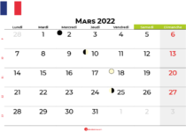calendrier mars 2022 france